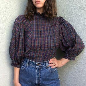 [vintage] 70s balloon sleeve plaid blouse